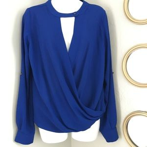 Sami & Jo Long Sleeve Draped V-Neck Blouse